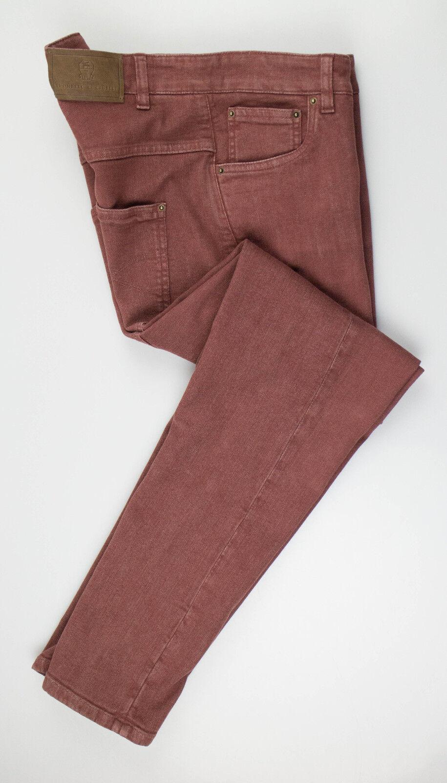Nouveau BRUNELLO CUCINELLI damen& 039;S CORDOVAN en coton mélangé braun Jeans Pantalon 42 6 895