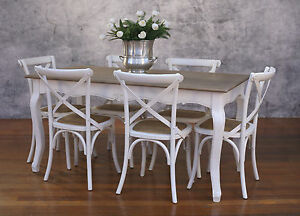 Image Is Loading Setting 7 PIECE 160x80 Dining Table Cross Back