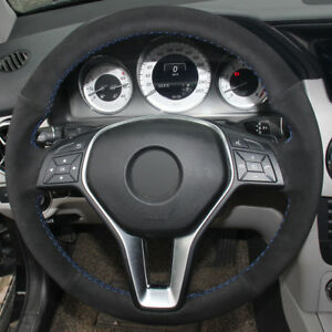DIY Steering Wheel Cover Black Suede Hand Sewing For Benz B180 2012