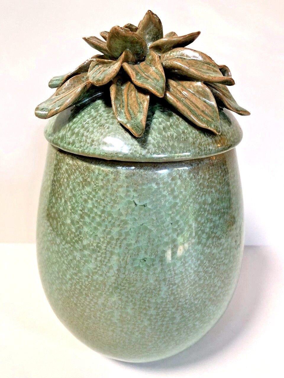 NEW Lidded Jar Urn Ceramic Grün Pearlized Glaze Sculpted Flower Petal Lid 9  TL