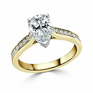 2.40 Ct Pear Cut Moissanite Engagement Ring Solid 18K Yellow Gold ring Size 7 8