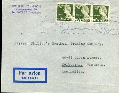 Schweden Nr Auf Luftpost 1947 Nach Australien Heller Glanz Gewidmet 416300 324 3