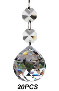 20pcs Crystal Glass Ball Chandelier Prisms Pendants Parts Beads 20mm
