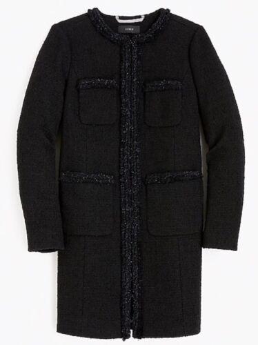 H2300 da Jcrew donna in con nero 335 Nuovo frange taglia cappotto S6 wZg5q6P