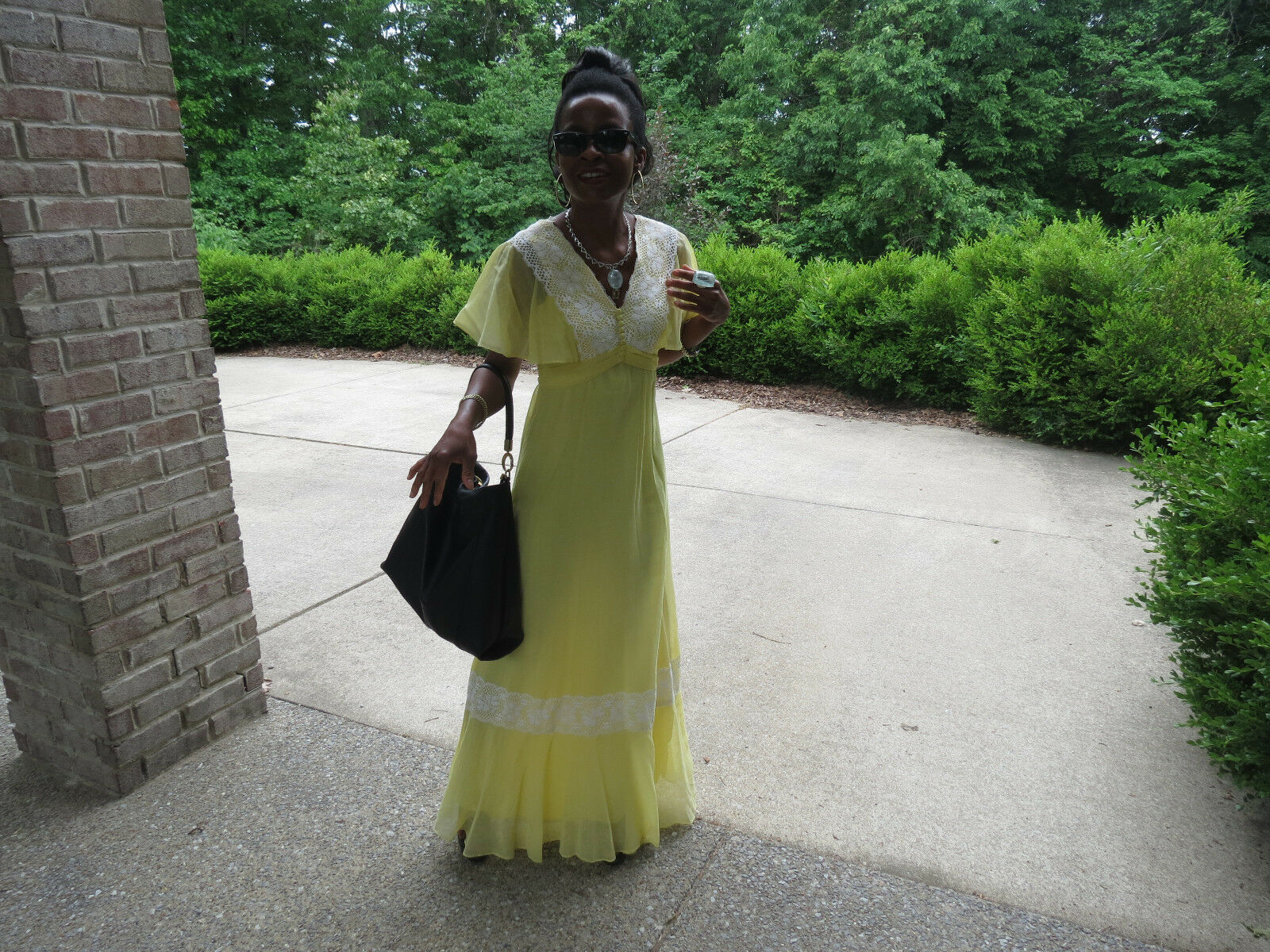 Vtg white Yellow lace trim long summer dress gown S 0-4 like in movie safelight
