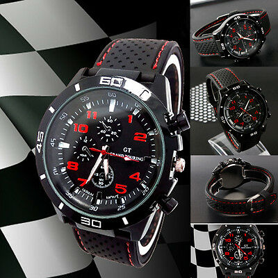 Men's Boys' Quartz: Battery Analogue Steel Round Sports Wrist Watch New GT Black