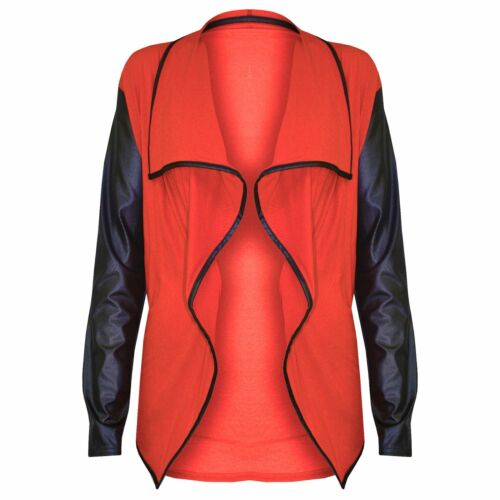 Womens Ladies Wet Look PVC Long Sleeves Front Open Waterfall Blazer Cardigan Top
