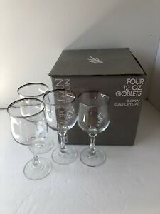 Crystal Stemware Water Goblets Set 4