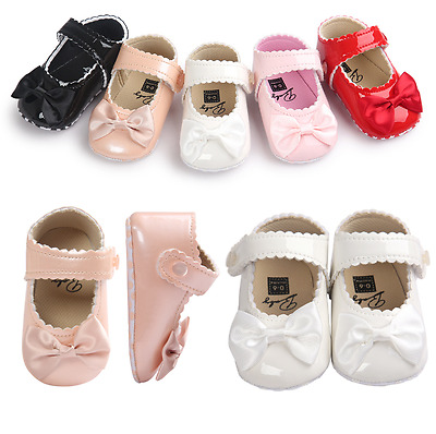 So Sweet Bowknot Patent Crib Shoes Soft Infant Baby Girl Mary Jane Newborn to 18
