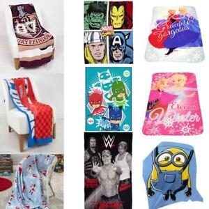 Kids-Boys-Girls-Character-Print-Brushed-Fleece-Blanket-Movie-Cartoon-Cosy-Warm