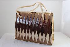 Vintage real snakeskin brown & cream kelly bag shoulder handbag 50s 60s