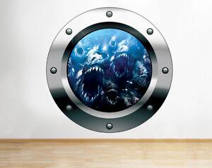 F102-Piranha-Ocean-Fish-Dientes-Ninos-pegatina-pared-vinilo-3d-habitacion-ninos