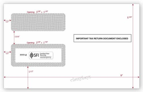 """200//pk ~ 1099 ENVELOPES for 2-up tax forms 8-3//4/""""x5-5//8/"""" Self-Seal #7777-2 DWMRS"""