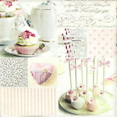 4x Paper Napkins for Decoupage Decopatch Vintage Cake Pops
