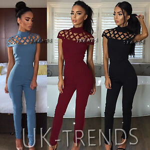 UK-Womens-Choker-High-Neck-Caged-Sleeve-Playsuits-Ladies-Long-Jumpsuits-Size6-14