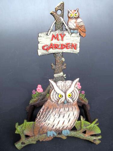 Tuyau Support EN FONTE My Garden avec 2 Hiboux 22 x 16 x 32,5 cm Antique