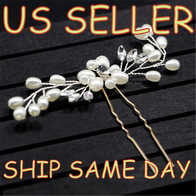 NEW Wedding Bridal Pearl Flower Crystal Hair Pins Bridesmaid Clips Side 2-PACK