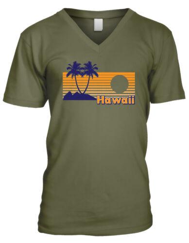 Hawaii Palm Trees Sunset Beaches Hawaiian Islands Aloha Mens V-neck T-shirt
