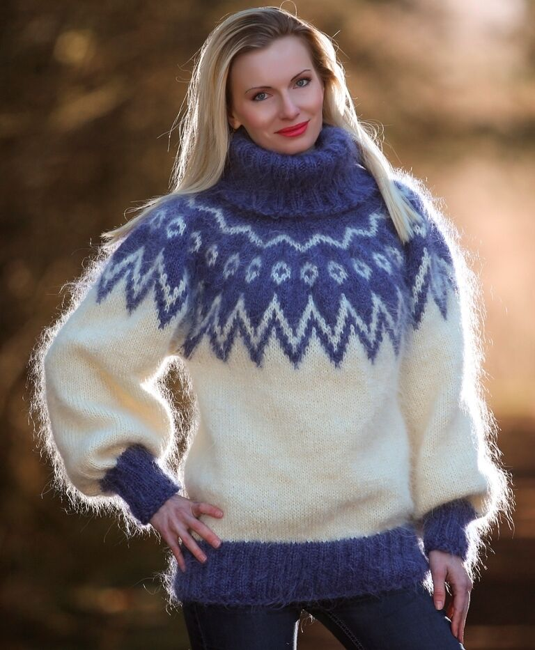 Ivory bluee hand knitted mohair sweater Icelandic Icelandic Icelandic fuzzy Nordic jumper SUPERTANYA 27f505