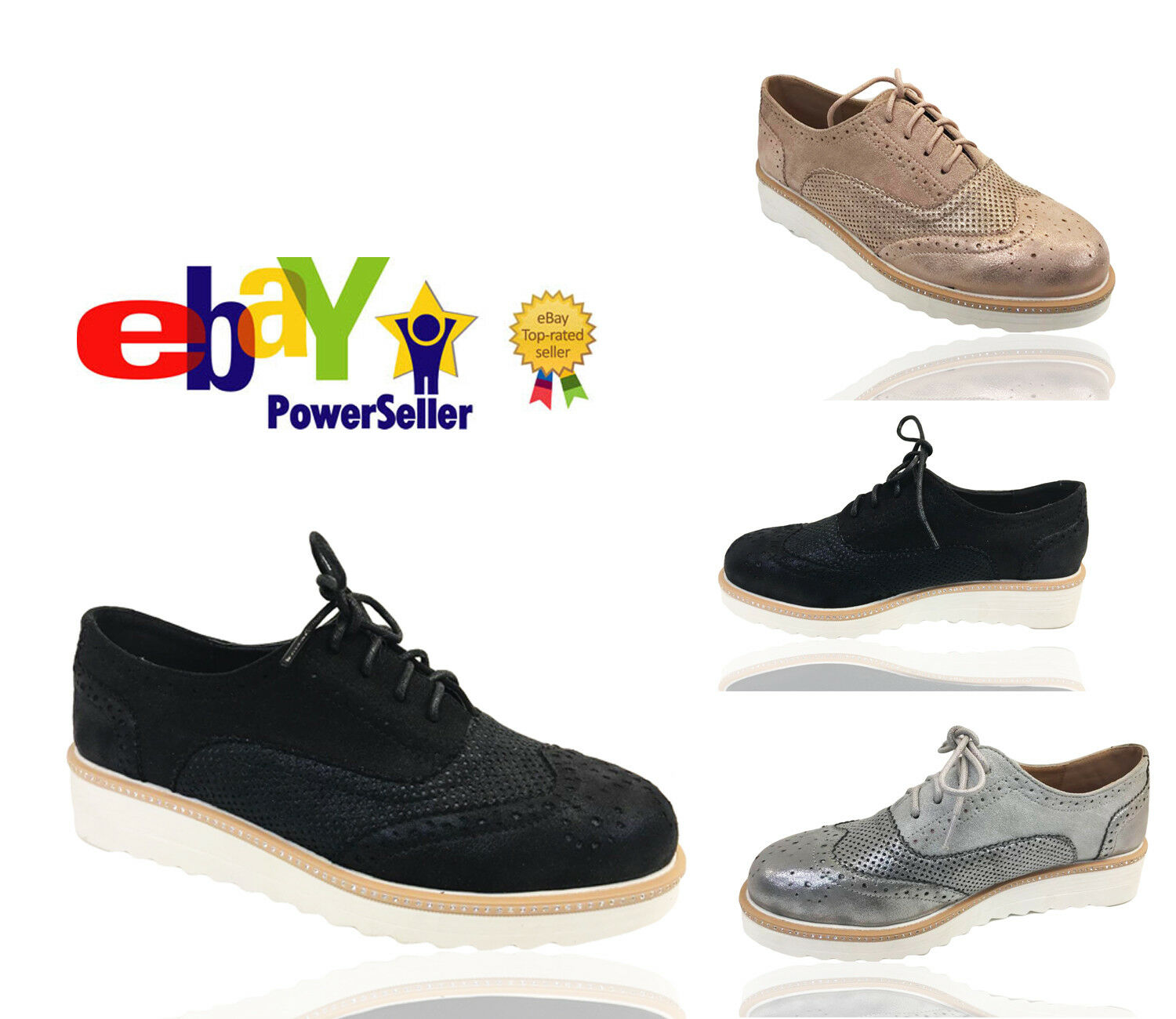 Mujer LADIES LACE UP BROGUES METALIC PLATFORM TRAINE FLAT BROGUES UP LOAFERS CREEPERS Talla 298f33