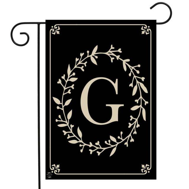 """Monogram Letter M Garden Flag Stand 40/""""H Briarwood Lane"""