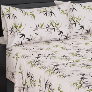 Image Is Loading Fern 300 Thread Count Floral Print Bed Sheets