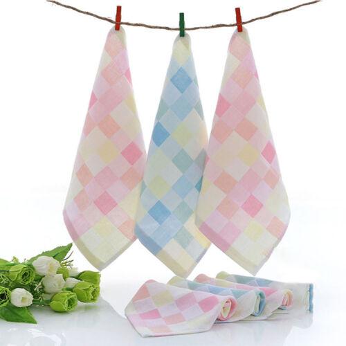 Soft Square Towels Cotton Gauze Plaid Towel Kids Bibs Daily Hand Face Towel