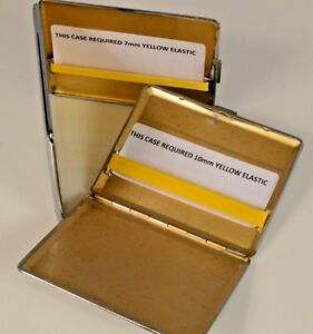 REPLACEMENT-YELLOW-ELASTIC-KIT-SILVER-CIGARETTE-CIGAR-CASE-IN-3-WIDTHS-amp-2-CLIPS