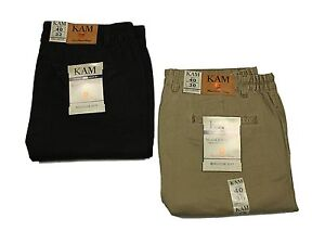 Mens-New-Big-King-Size-Chino-Trouser-Elasticated-in-Black-amp-Taupe-Colours-40-70