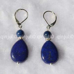 Natural-Drop-Egyptian-Blue-Lapis-Lazuli-Beads-Drop-Dangle-Earrings-JE112