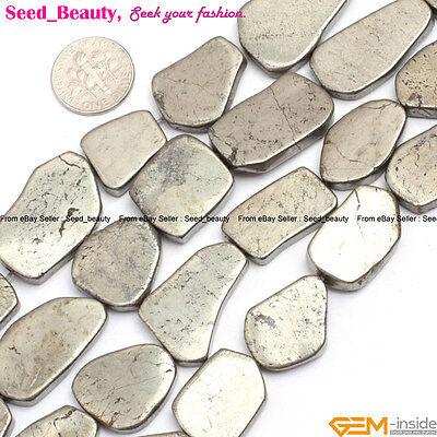 "Freeform flat pyrite gemstone jewelry making loose beads 15"" 13-25 / 30-40mm"