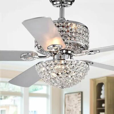 Crystal Chandelier Ceiling Fan Light Fixture Kit With Remote Modern Lighting 52 Ebay