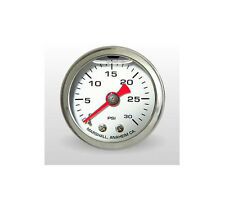 "Marshall Gauge 0-30 Psi Fuel / Oil Pressure White 1.5"" Diameter (Liquid Filled)"