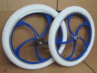 20 Bmx Bike Bicycle Alloy Mag Wheel Set + White Tyres + Inner Tubes + Freewheel