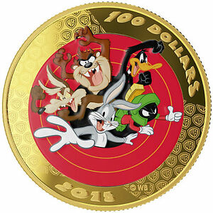 Canada-2015-100-14-Karat-Gold-Coin-amp-Pocket-Watch-Looney-Tunes-Bugs-Bunny