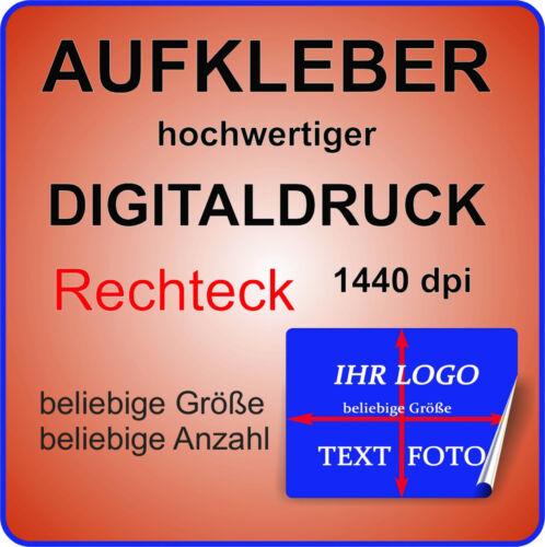 4 Stück Werbe Aufkleber RECHTECK mit Ihrem Logo auf GLANZ TRANSPARENT Ablösbar