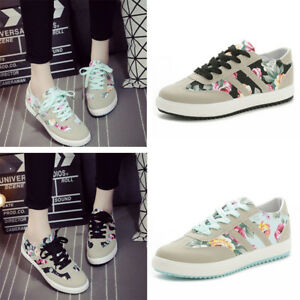 Womens-Girl-Floral-Canvas-Lace-Up-Shoes-Sneakers-Flats-Sport-Gym-Plimsolls-Size