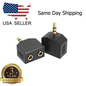 1-Stecker-auf-2-Buchse-vergoldet-3-5mm-Y-Audio-Splitter-Kopfhoerer-Adapter-schwarz