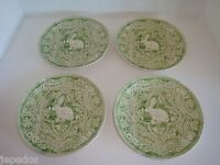 Pottery Barn S/4 Graphic Bunny 8 Plates Green Easter Spring Rabbit
