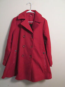 Free People Red Zip To My Lou Swing Pea Coat Size XS Extra Small ...
