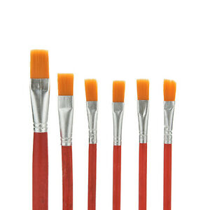 6x artist paint brush set nylon hair watercolor acrylic for Acrylic mural paint supplies