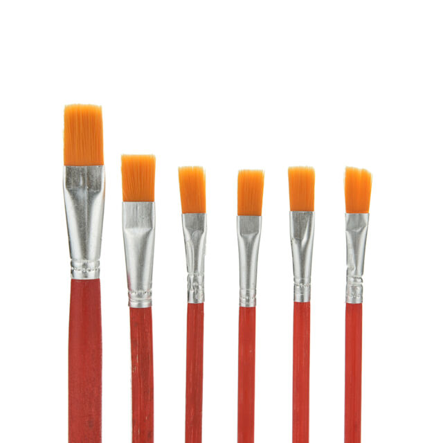 6X Red Weasel Hair Paint Brush Art Artist Painting For Oil Acrylic Watercolor
