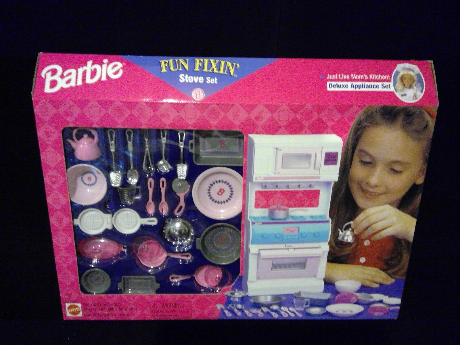 VTG 90's BARBIE FUN FIXIN STOVE DELUXE APPLIANCE SET PLAY FOOD ACCESSORIES NEW
