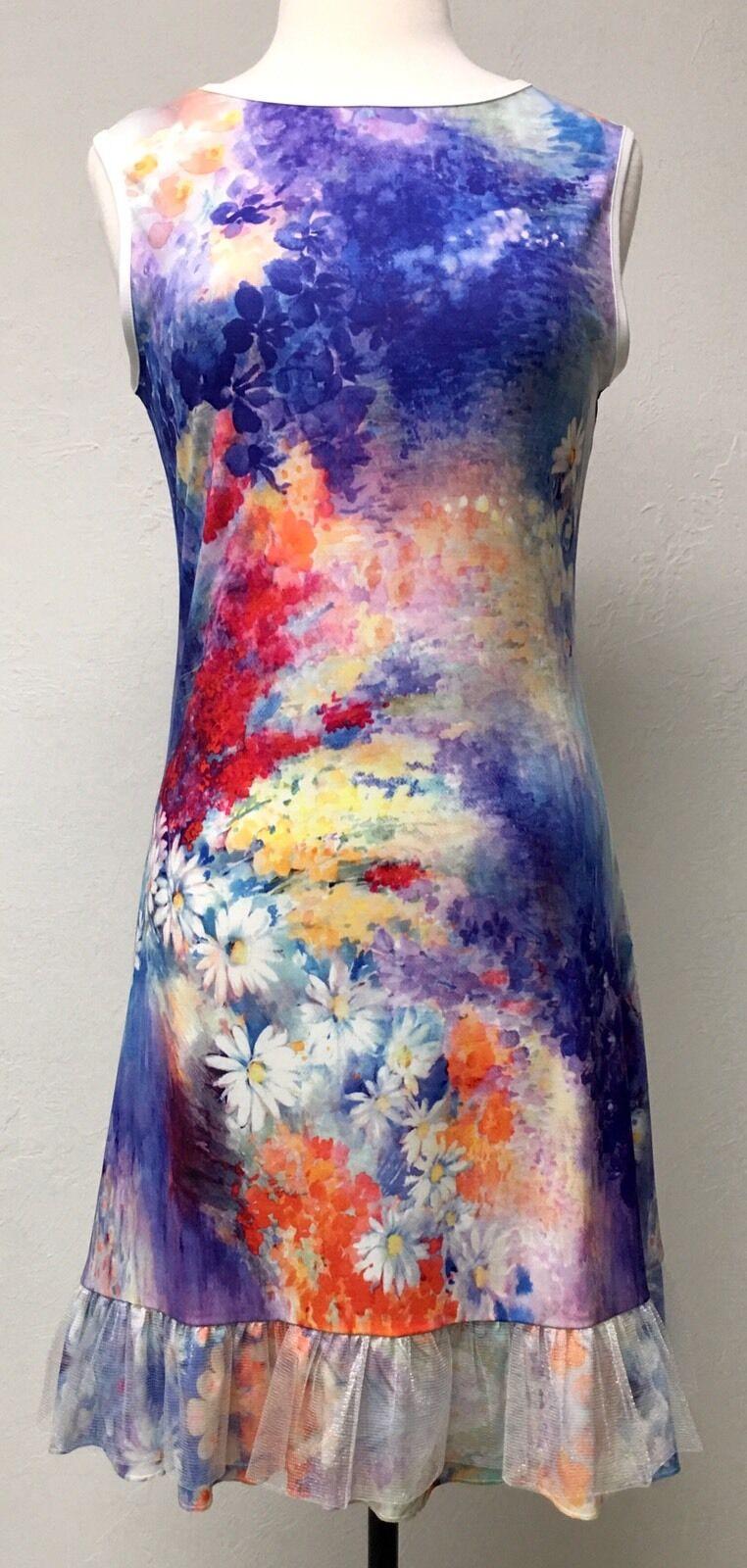 Vintage Concept Designer Boutique Sleeveless Floral Painting Shift Dress Size S