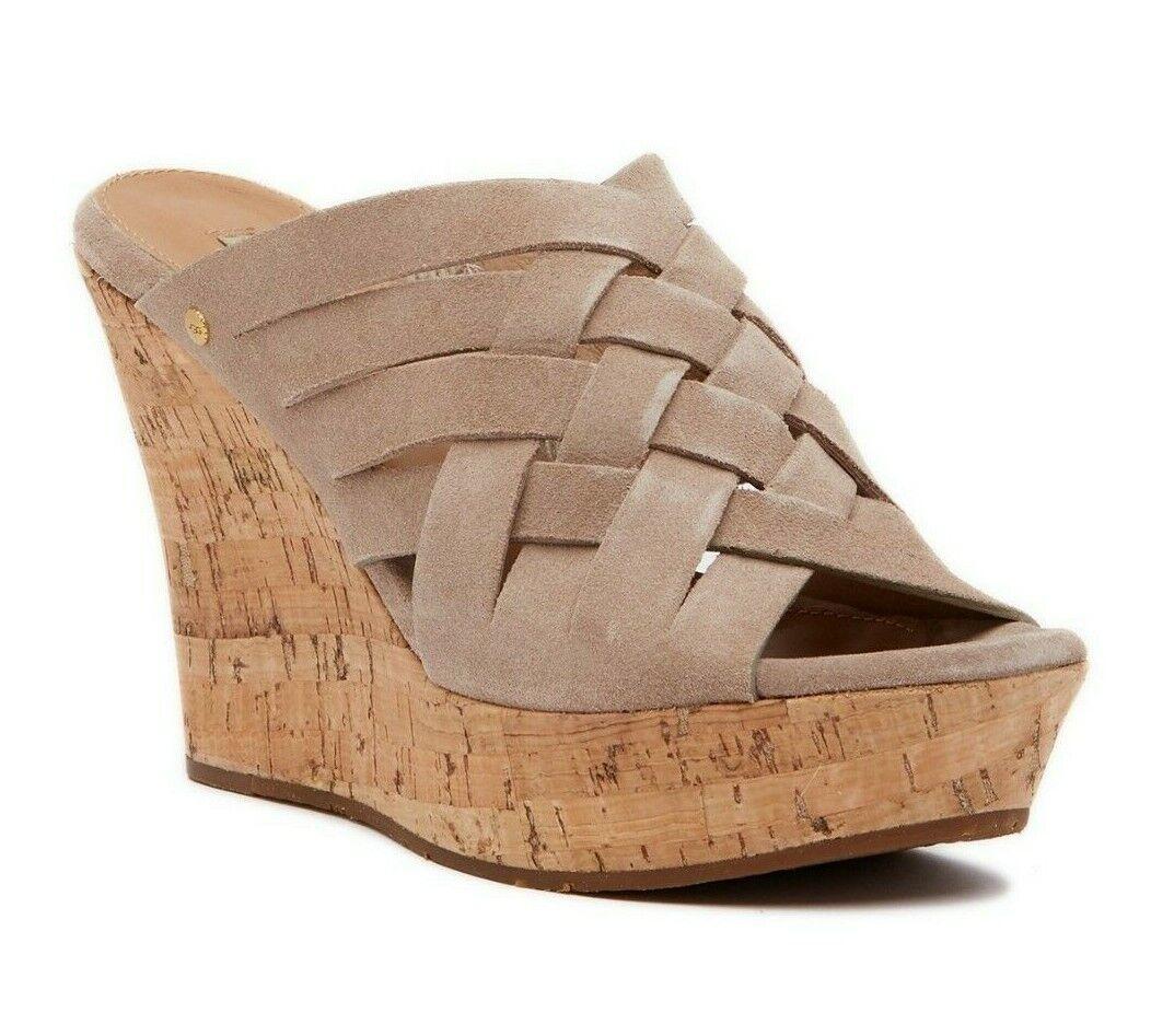 58cd095922c UGG Australia Womens Marta Slide Horchata Strappy Suede Wedge Sandal Size 10