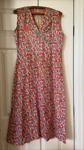 Vintage 1930s Feedsack Dress Floral Patched Sleevl
