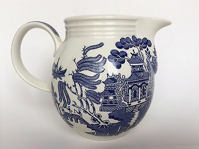 Churchill Blue Willow Semi Porcelain Milk Pitcher Jug Vintage English Pottery