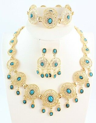 Women Wedding Necklace African Jewelry Set 18k Gold Plated Austrian Crystal Set
