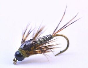 Two-Bit-Drake-Nymph-Fly-Double-Tungsten-Bead-Choice-of-10-or-12