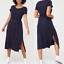 thumbnail 1 - V By Very Navy Short Sleeved Jersey Midi Dress - Size: 16, 18 or 20